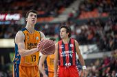VALENCIA, SPAIN - DECEMBER 7:  Lucic during Endesa Spanish League game between Valencia Basket Club and Laboral Kutxa Baskonia at Fonteta Stadium on December 7, 2014 in Valencia, Spain