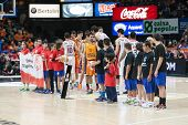 VALENCIA, SPAIN - DECEMBER 5: all players during Euroleague match between Valencia Basket Club and Crvena Zvezda Telekom Belgrade at Fonteta Stadium on Dicember 5, 2014 in Valencia, Spain