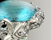 Golden  Ring with Diamond. Jewelry background. aquamarine gemstone