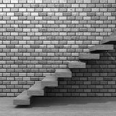 Concept or conceptual wood or wooden stair or steps near a brick wall background on  floor