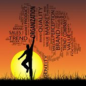 Concept or conceptual black media or business tree and grass word cloud, a man jumping on sunset with sun background