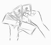 Sketch of hands with money