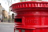 image of postbox  - traditional london red letter box in the street  - JPG