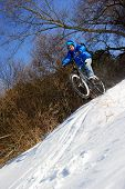 Bicyclist extreme snow