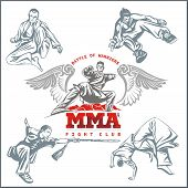 MMA Labels -  Vector Mixed Martial Arts Design.