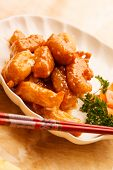 Chinese food. Chicken with sweet and sour sauce