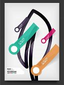 Flyer, Brochure Design Template, with stickers and infographics elements