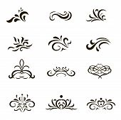 Calligraphic decorative elements and Ornaments in  format. for  Web Pages  Greeting Cards.