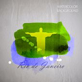 vector watercolor illustration of brazilian the Jesus Christ Red