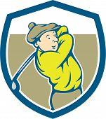 Golfer Swinging Club Shield Cartoon