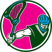 Lacrosse Player Crosse Stick Circle Retro