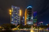 night view of the Me Linh square and buildings around at downtown of in Hochiminh city Vietnam
