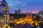 sunset at Night view Notre Dame Cathedral ( Saigon Notre-Dame Basilica) downtown of Ho Chi Minh city