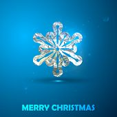 Holiday vector illustration of a silver snowflake with foil text