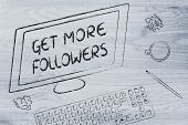 Get More Followers Text On Computer Screen, Desk With Keyboard And Coffee