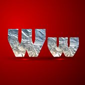 vector set of aluminum or silver foil letters. Letter W