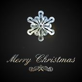 Holiday vector illustration of a silver foil snowflake. Merry Ch