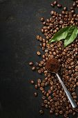 image of coffee coffee plant  - Coffee on grunge dark background - JPG