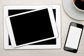 Tablet and Cell Phone With Blank Screens
