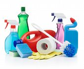 stock photo of cleaning agents  - variety of cleaning products on white background - JPG