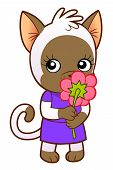 Kitten Girl With Flower