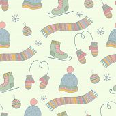 Semless hand drawn winter clothes pattern. Set  scarf, mittens, hat, ice skates