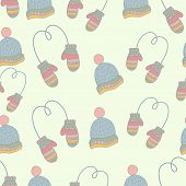 Semless hand drawn winter clothes pattern. Set mittens, hat, ice skates