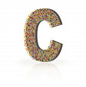 3D Vector Font With Reflection Alphabet Letter C