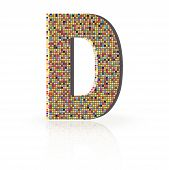 3D Vector Font With Reflection Alphabet Letter D