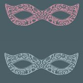 Festive masquerade lacy mask. Delicate hand drawn illustration