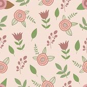 Spring flowers seamless pattern. Hand drawn vector
