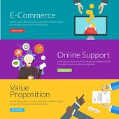 Flat Design Concept For E-commerce, Online Support And Value Proposition. Vector Illustration For We