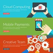 Flat Design Concept For Cloud Computing, Mobile Payments And Creative Team. Vector Illustration For