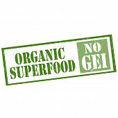 pic of genetic engineering  - Grunge rubber stamp with text Organic Superfood  - JPG