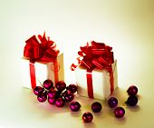 gifts with Christmas balls