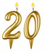Birthday Candles Number Twenty Isolated