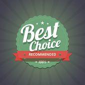 Best choice badge on dark background.