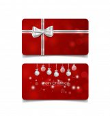 Holiday gift coupons with gift bows and Christmas ball, vector illustration.