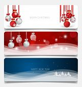 Holiday gift coupons with Christmas tree and Christmas balls, vector illustration.