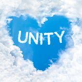 Unity Word Inside Heart Cloud  Blue Sky