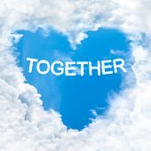 Together Word Cloud Blue Sky Background Only