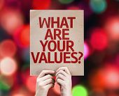What Are Your Values? card with colorful background with defocused lights
