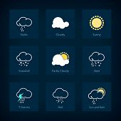 Set Of Weather Symbols, Vector Illustration