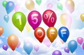 15 Percent Off Discount Balloon Colorful Balloons