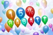 German 15 Percent Off Rabatt Balloon Colorful Balloons