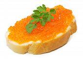 red caviar on white bread