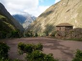 stock photo of football pitch  - A football pitch set in a valley along the Inca Trail Peru - JPG