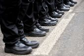 picture of parade  - Detail with black military boots in a row during parade