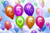 25 Percent Off Discount Balloon Colorful Balloons