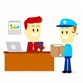 picture of postman  - Postman Delivering A Package to A Businessman into his Office  - JPG